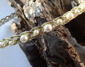 Celtic Weave Circlet Headband Spring Green Pearl