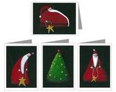 Folksy Santa - set of 4 holiday cards by Debra Linker