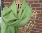 scarf silk twill long large light green color