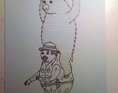 How man and bear work collectively to scare off potential suitors print