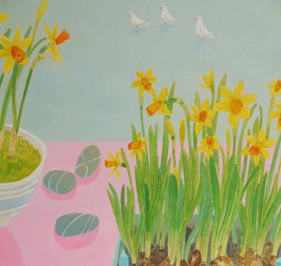 Limited edition Giclee print, titled 'Spring Doves'