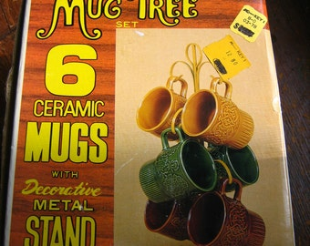 Mint in Box Never Used 6 Ceramic Mugs Earth Tones and Display Tree 60's