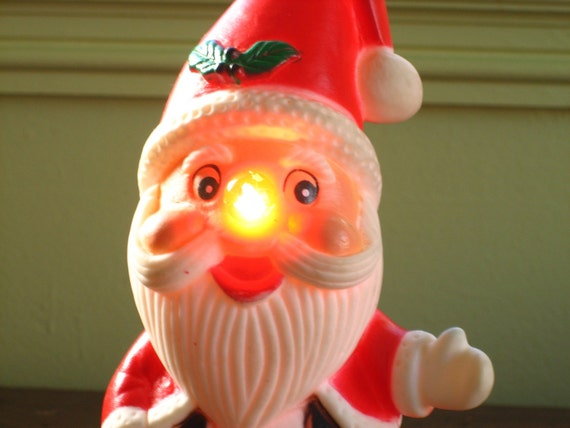 Santa has a RED Nose Vintage light up Table Top Ornement