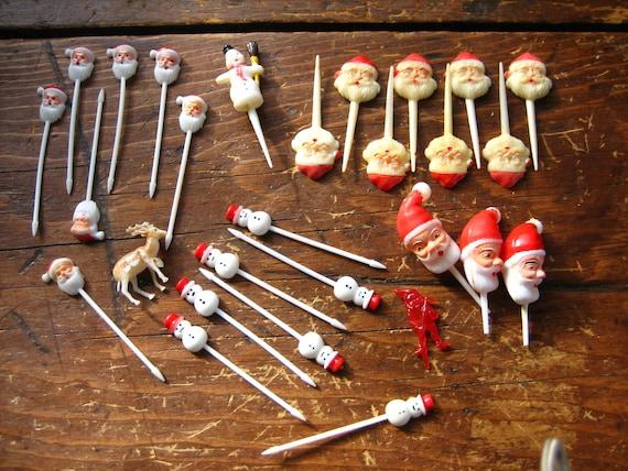 Kitschy Wonderful Cake Cupcake Decor Vintage Xmas Santa Reindeer Snowman