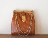 vintage TOFFEE leather satchel.
