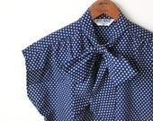 vintage POLKA DOT bow blouse. L