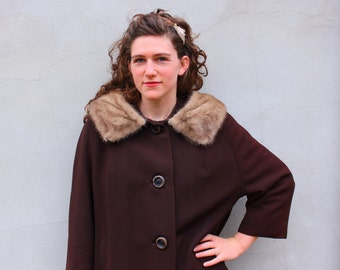 vintage MINK COLLAR swing coat. LG