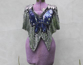 SALE...vintage SILK butterfly blouse. S/M