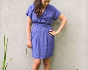 vintage MORNING GLORY blue dress. M/L