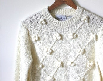 vintage POPCORN knit sweater. M