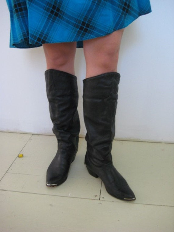Vintage Black Leather Tall Boots that Fold over to Ankle Boots Size 8 1\/2