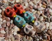 Howlite Skull Totem Day of the Dead Earrings