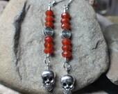 Silver Skull Carnelian Day of the Dead Earrings