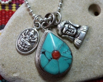 Talisman, Turquoise Necklace, Charm Necklace, Talisman Necklace, Buddha Talisman, Ganesh Talisman, Unisex Talisman Necklace, Yoga Jewelry