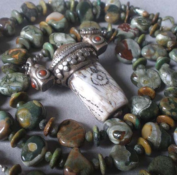 Rhyolite, New Jade, and Turquoise Necklace