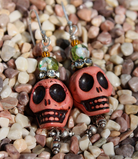 Day of the Dead Earrings-Skulls Adorned III