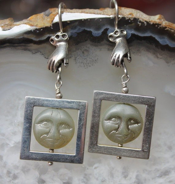 Man In the Moon Silver Framed Earrings