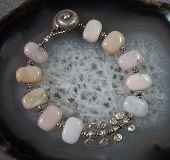 Peruvian Pink Opal and Silver Bracelet
