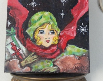 modern wall art, winter painting, Green hat, Original modern art, Blonde girl, Red Scarf, Holiday Painting, winter