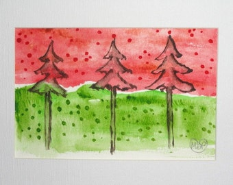 Tree Painting, Original tree art, whimsical art, Holiday tree painting, Landscape Original Painting, red and green