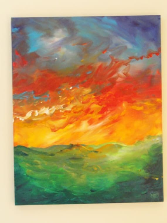 Abstract Sky Water Bold  Original Painting 30 x 24