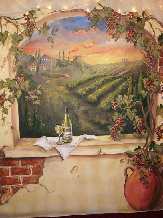 Custom murals italian vineyard landscape mural by for Custom mural painting