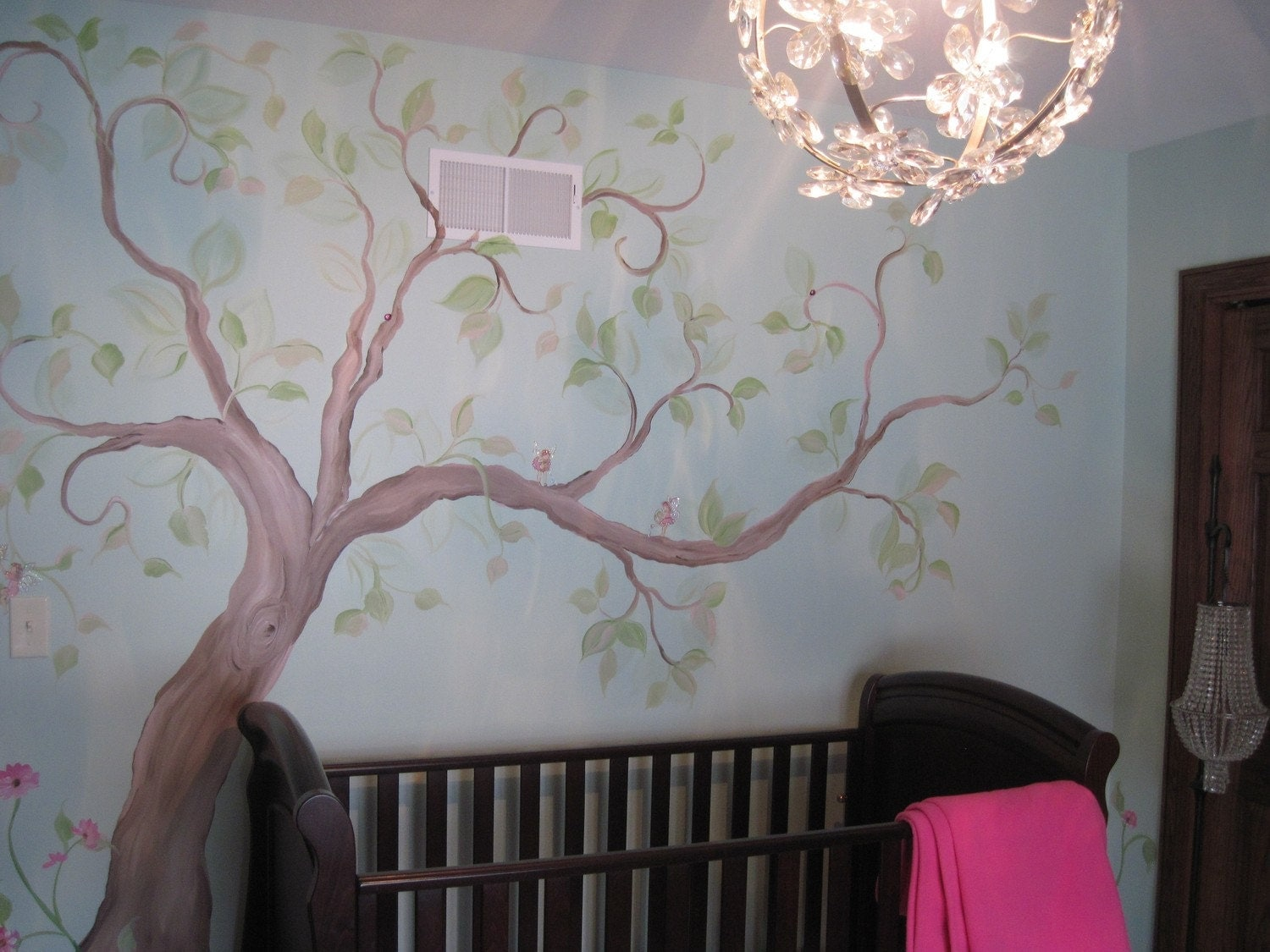 Estimate for tree mural nursery art hand painted custom for Baby wall mural ideas