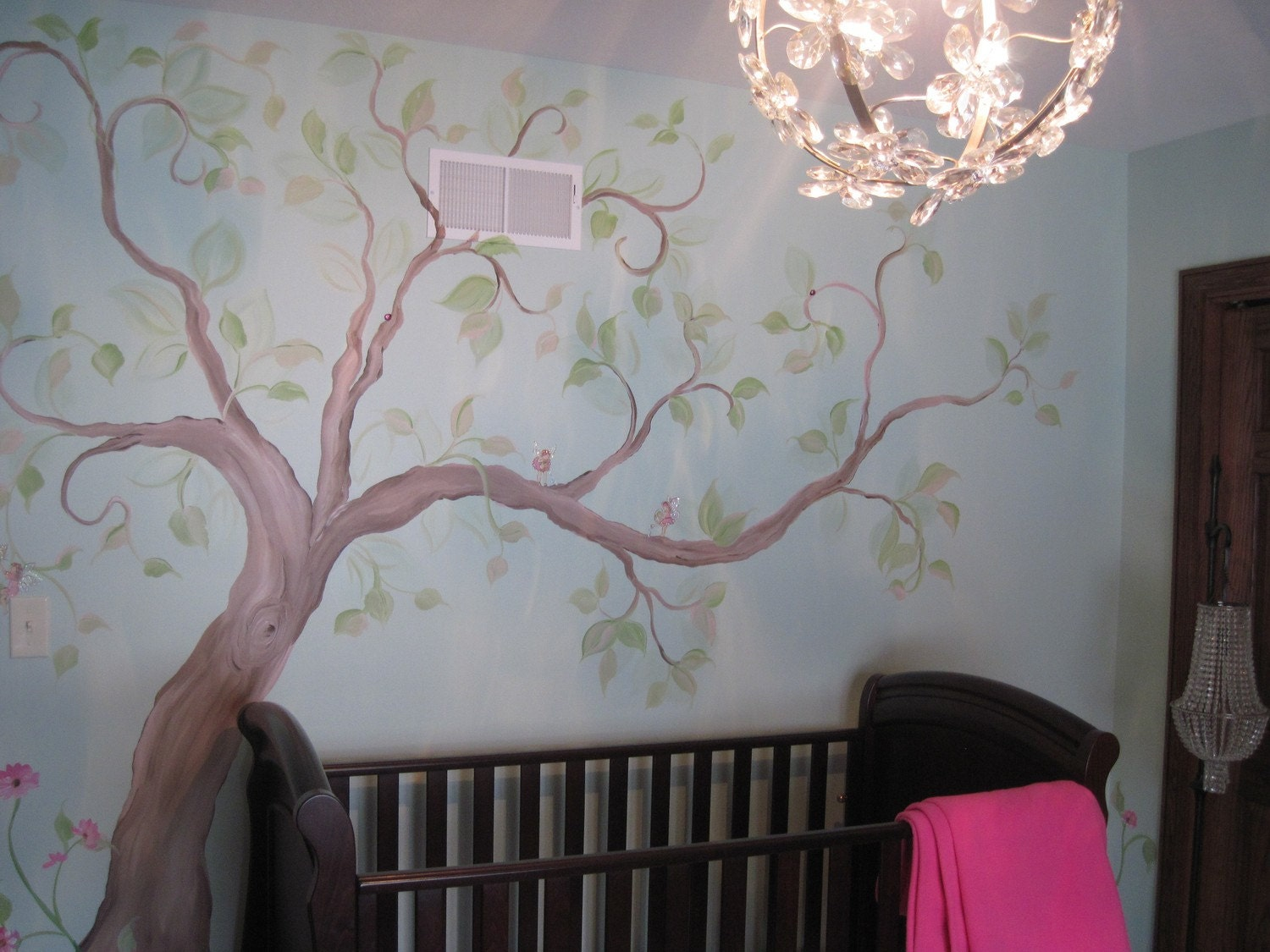 Estimate for tree mural nursery art hand painted custom for Baby nursery tree mural