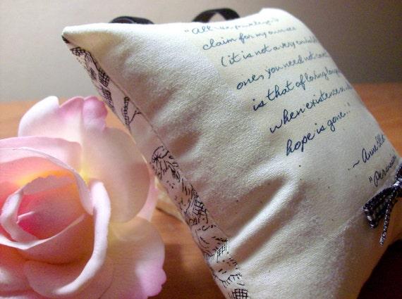 Jane-Miss Anne Elliot Speaks Of Love-Persuasion Quotation-Miniature Hanging Pillow