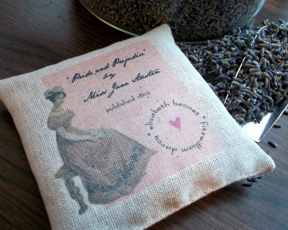 Jane Austen-Pride and Prejudice Burlap Style Sachet Filled With Dried Lavender Buds
