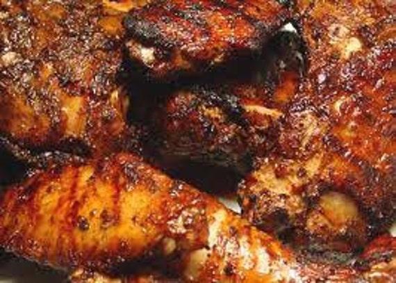 Jamaican Jerk Rub-Jar-HOT blend of allspice, thyme, paprika, cinnamon, grated nutmeg, ground ginger, cayenne, black pepper-Salt Free.