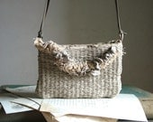 SAMPLE SALE - Taupe Grey Handwoven Messenger Bag with Bohemian Frayed Trim - Made to Order
