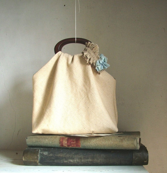 RESERVED for JOSIE Romantic Feminine Ecru Linen Tote and Coin  purse  with Boho Gathered Ruffle - OOAK