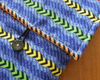 MacBook / MB Pro / MB Air Laptop Sleeve in Bright Chevron Stripe Fabric