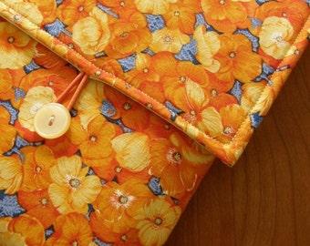 MacBook / MB Pro / MB Air Laptop Sleeve in Orange Poppy Fabric