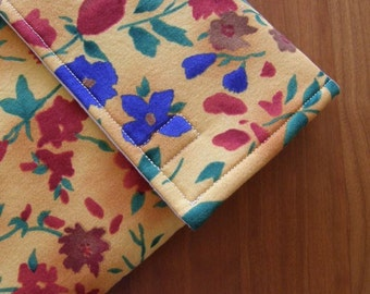 iPad Sleeve/Case with Extra Pocket in Gold Floral Fabric