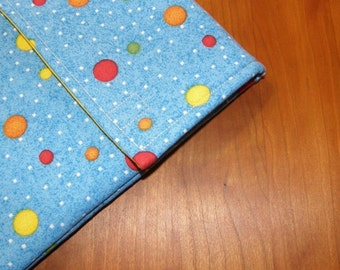 Blue Planet Dots Fabric iPad Sleeve / Case with Extra Pocket