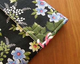 iPad Sleeve/Case with Extra Pocket in Classy Black Floral Fabric