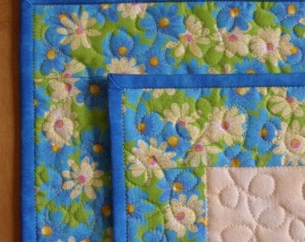 Green and Blue Floral Premium Quilted Placemats - Set of 2