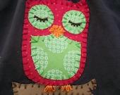 Sale- Sleepy Little Owl  applique shirt -ready to ship size 3T