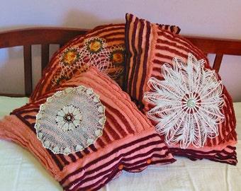 3 Terra Cotta CHENILLE PILLOWS Unusual Art Deco Rich Salmon Brown & Burgundy, 1930 Crochet Doilies Irish Roses, Boho Bungalow Porch Wicker