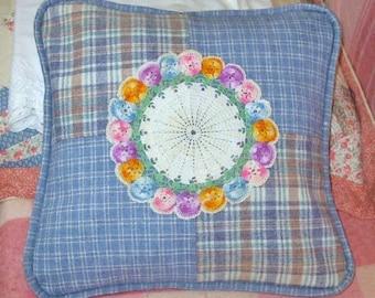 CORNFLOWER BLUE Wool PATCHWORK Pillow, Tan White Plaid Stripes Squares, Pastel Crochet Pansy Center, Pink Orange Lavender Doily, Mop Buttons