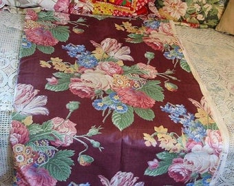 Burgundy CABBAGE ROSE Polished Cotton Fabric, Flower Bouquets Tulips Delphiniums Poppies Daffodils, Victorian Design, Drape Pillow Yardage