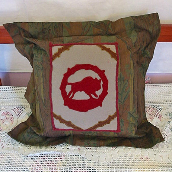 Rustic RED BUFFALO PILLOW Hand Embroidered Felt Center, Woodsy Tree Forest Fabric Prairie Bison Chic, Handsome Guy Gift Cabin Man Cave Decor