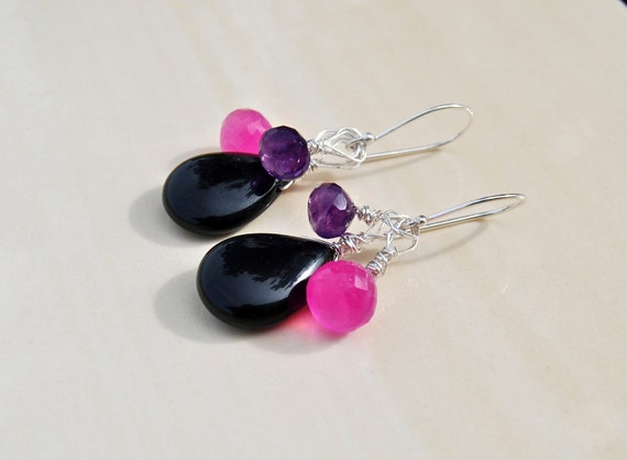 Semi-Precious Stone Cluster Earrings - amethyst, chalcedony, onyx and sterling silver