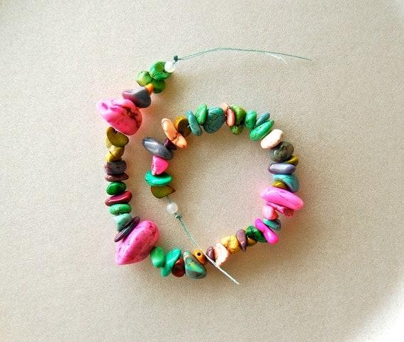 "6 1/2"" Half Strand Rainbow Stone Chip Beads"