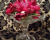 Beautiful Glass Fruit Bowl - Large Compote Embellished with Roses