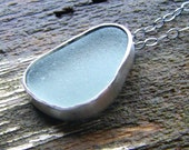 Alaskan Sea Glass and Sterling Silver Pendant