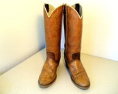 Vintage Dingo brand brown leather cowgirl boots size 9 N