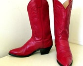 Fabulous Red Leather justin brand Cowgirl boots size 6 B